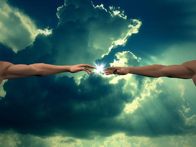 Creation God Finger Clouds Light