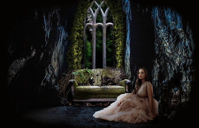 Girl Fairy Tale Window Moonlight cave day