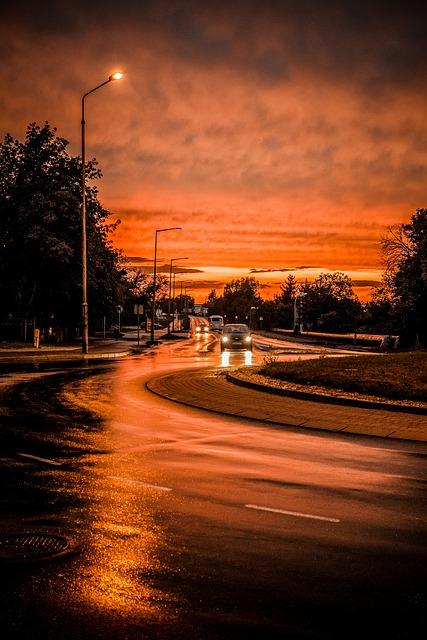 Way Street City Lighting orange street lights Asphalt